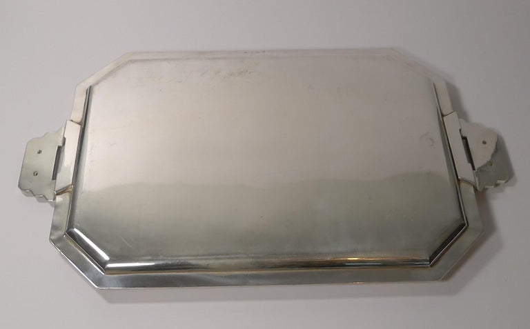 Stylish French Art Deco Cocktail Tray in Silver Plate, circa 1930s For Sale 3