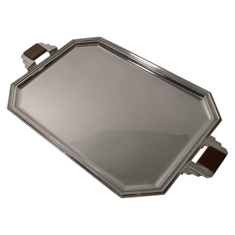 Stylish French Art Deco Cocktail Tray in Silver Plate, circa 1930s For Sale