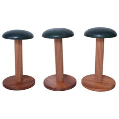 Stylish French Art Deco Leather Bar Stools Set of Three- France 1950s