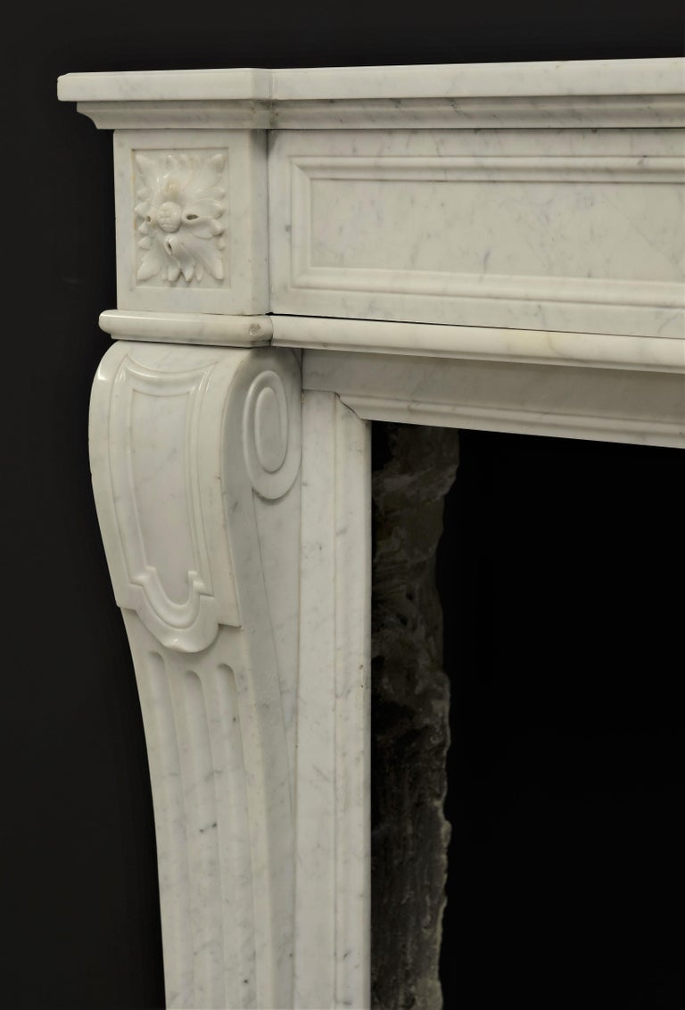 Carrara Marble Stylish French Louis XVI Fireplace in Carrara White Marble For Sale