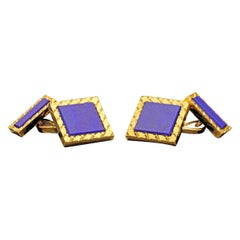 Stylish Gold and Lapis Lazuli Square Cufflinks by Cartier, c.1970s