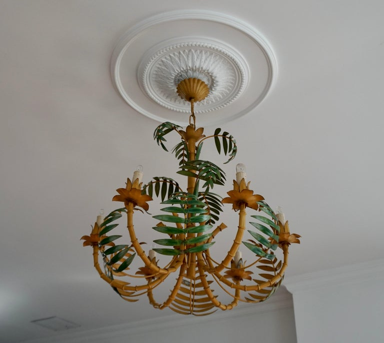 Italian Stylish Hollywood Regency Tole and Faux Bamboo Chandelier Pendant For Sale