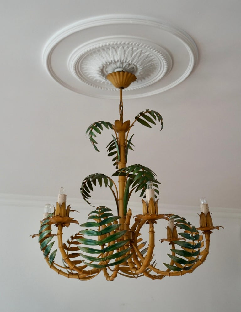 Painted Stylish Hollywood Regency Tole and Faux Bamboo Chandelier Pendant For Sale