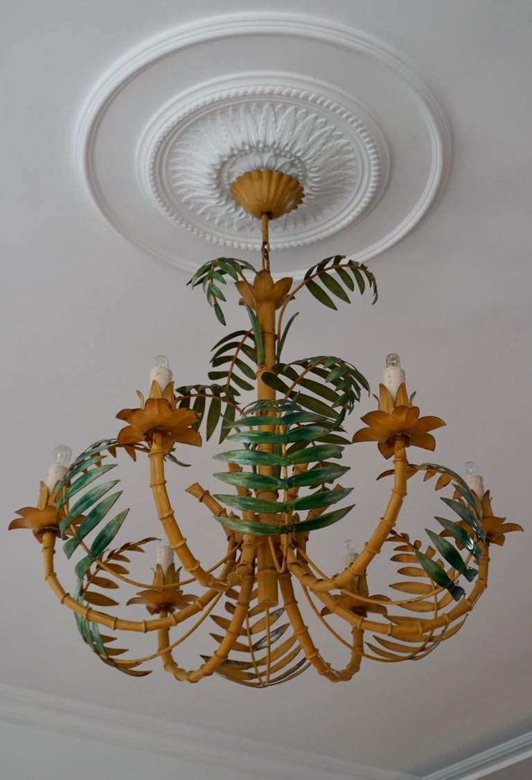 Metal Stylish Hollywood Regency Tole and Faux Bamboo Chandelier Pendant For Sale