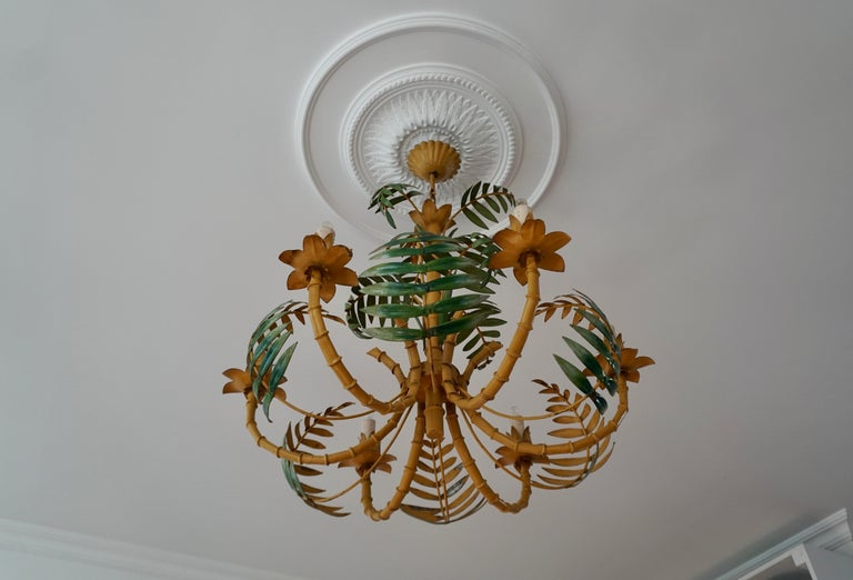 Stylish Hollywood Regency Tole and Faux Bamboo Chandelier Pendant For Sale 1