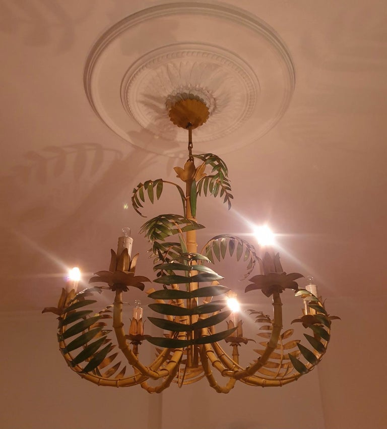 Stylish Hollywood Regency Tole and Faux Bamboo Chandelier Pendant For Sale 2
