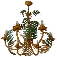 Stylish Hollywood Regency Tole and Faux Bamboo Chandelier Pendant