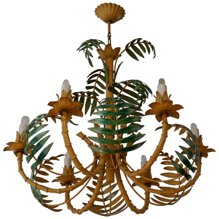 Stylish Hollywood Regency Tole and Faux Bamboo Chandelier Pendant For Sale