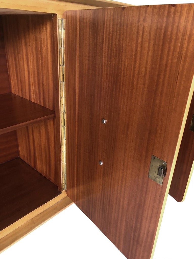 Mid-Century Modern Stylish Italian Midcentury 4-Door Sycamore Credenza in the Style of Ico Parisi For Sale