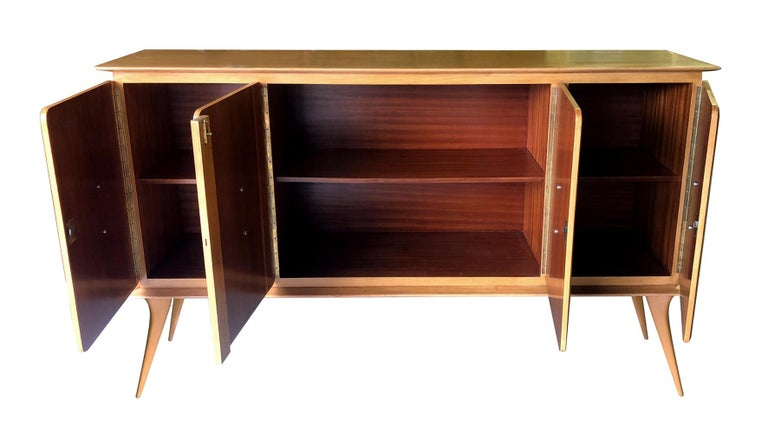 Stylish Italian Midcentury 4-Door Sycamore Credenza in the Style of Ico Parisi In Good Condition For Sale In San Francisco, CA
