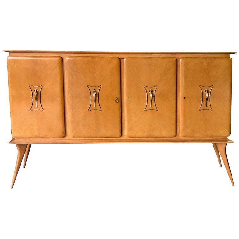 Stylish Italian Midcentury 4-Door Sycamore Credenza in the Style of Ico Parisi For Sale