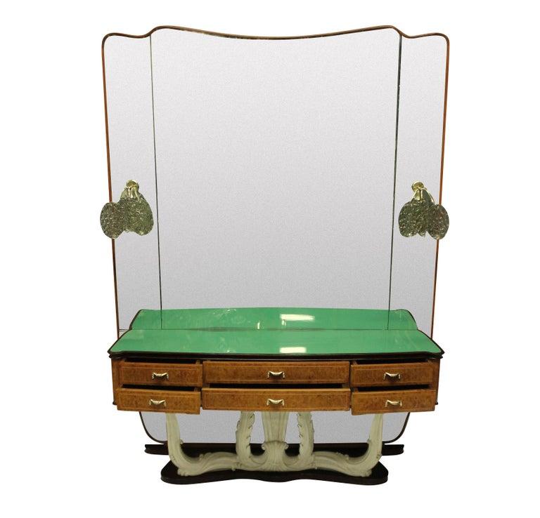 Mid-Century Modern Stylish Italian Midcentury Hall Console with Mirror