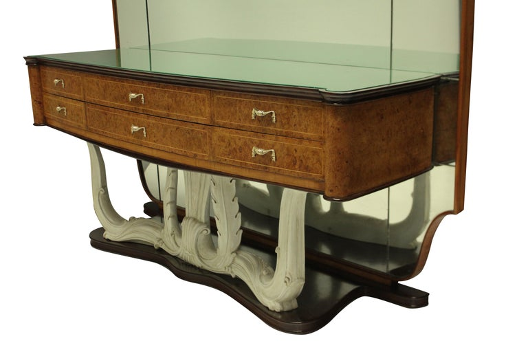 Stylish Italian Midcentury Hall Console with Mirror 1