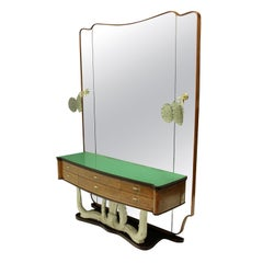 Stylish Italian Midcentury Hall Console with Mirror