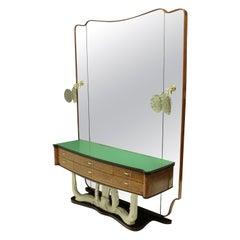 Stylish Italian Midcentury Hall Console with Mirror