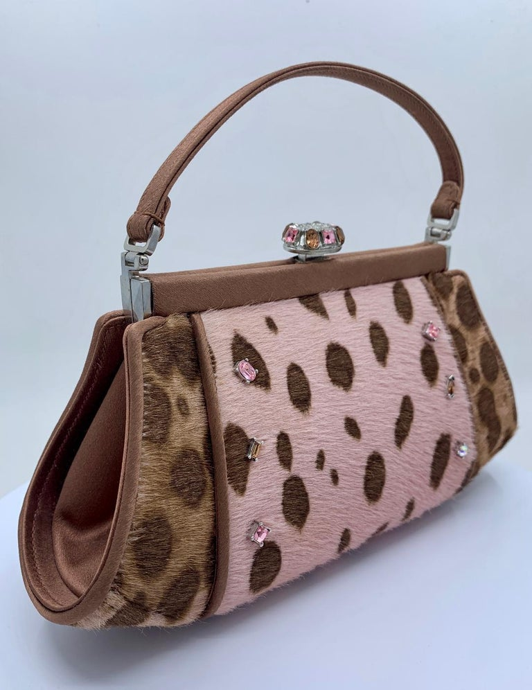 Stylish Judith Leiber Leopard  Pony Hair Evening Bag With Fancy Jeweled Accents In Good Condition For Sale In Tustin, CA