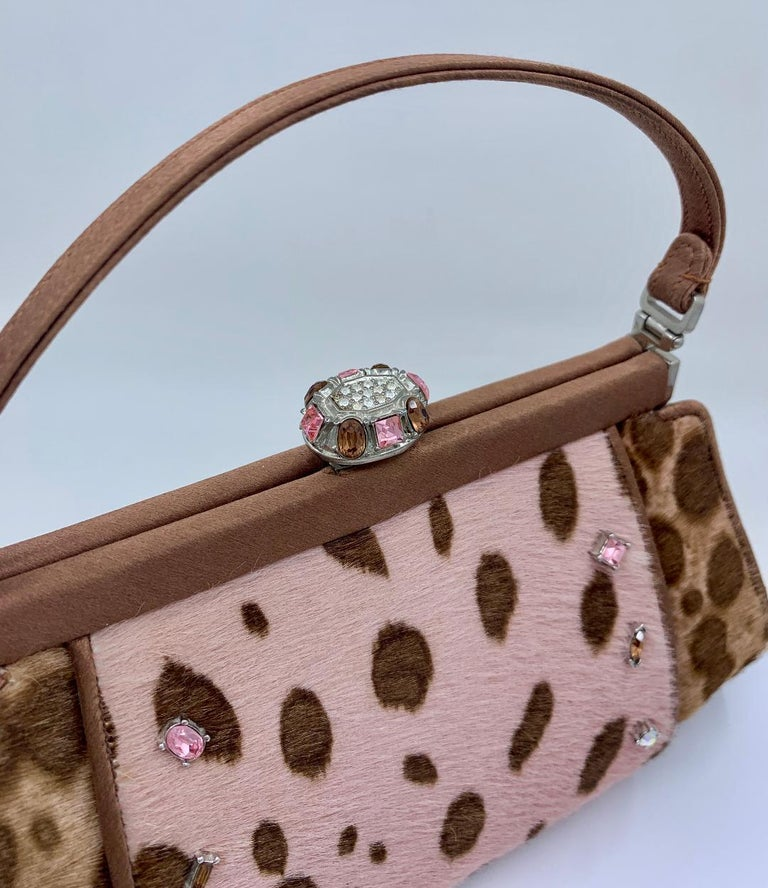 Women's Stylish Judith Leiber Leopard  Pony Hair Evening Bag With Fancy Jeweled Accents For Sale