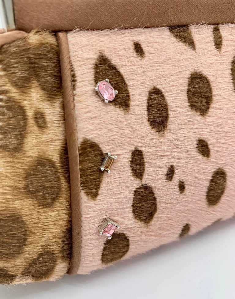 Stylish Judith Leiber Leopard  Pony Hair Evening Bag With Fancy Jeweled Accents For Sale 1