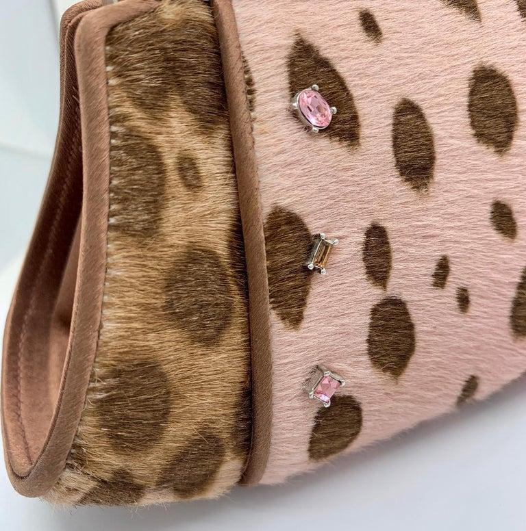 Stylish Judith Leiber Leopard  Pony Hair Evening Bag With Fancy Jeweled Accents For Sale 2