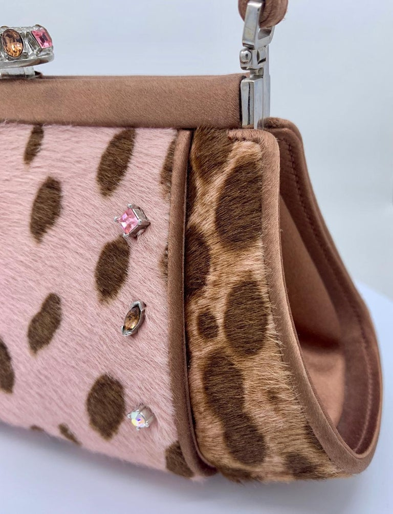 Stylish Judith Leiber Leopard  Pony Hair Evening Bag With Fancy Jeweled Accents For Sale 3