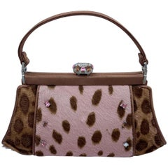 Stylish Judith Leiber Leopard  Pony Hair Evening Bag With Fancy Jeweled Accents