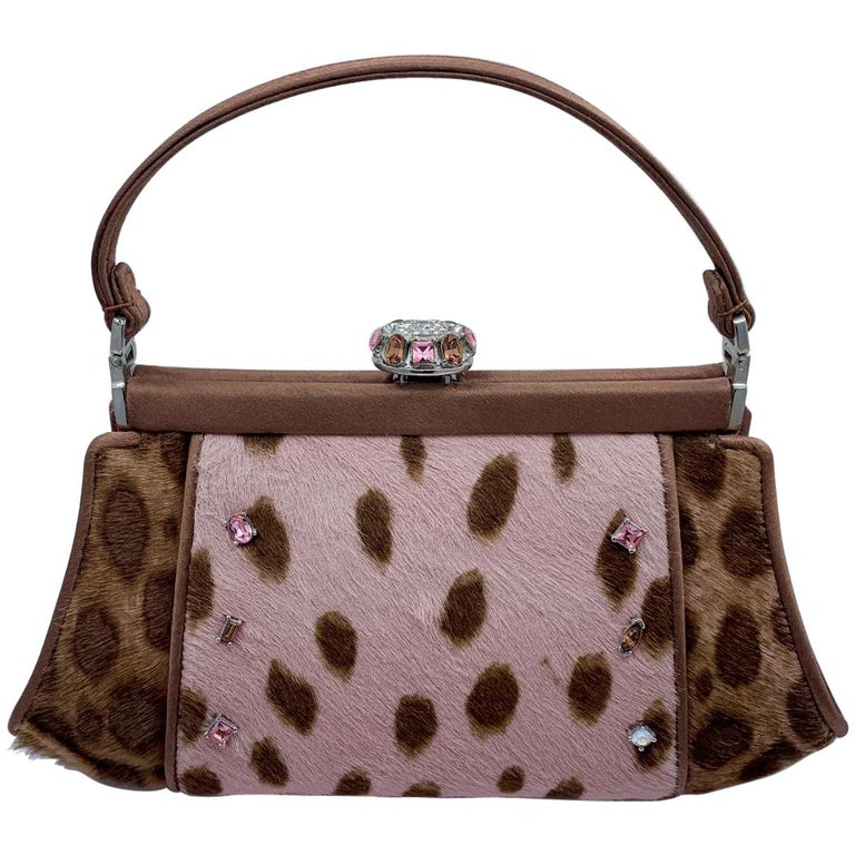 Stylish Judith Leiber Leopard  Pony Hair Evening Bag With Fancy Jeweled Accents For Sale