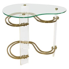 Stylish Kidney-Shaped Glass and Lucite Side Table with Brass Stretchers