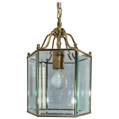 Stylish Late 20th Century Brass & Beveled Glass Hexagonal Pendant Light Fixture