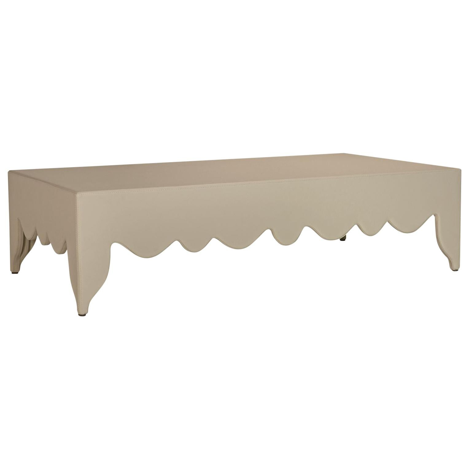 Stylish Low Square Coffee Table Leather Upholstered Customizable