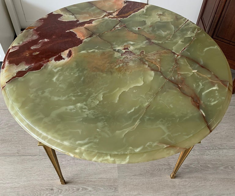 Stylish & Majestic Looking 1950s, Bronze and Green Round Top Onyx Coffee Table 3