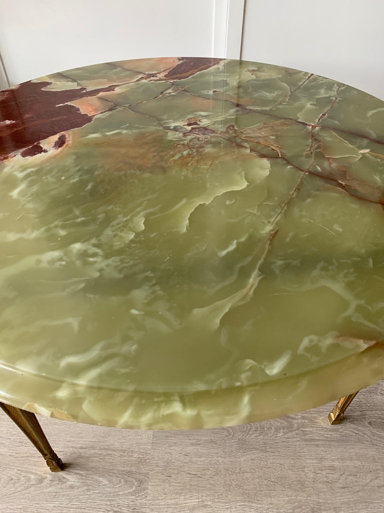 Stylish & Majestic Looking 1950s, Bronze and Green Round Top Onyx Coffee Table 4