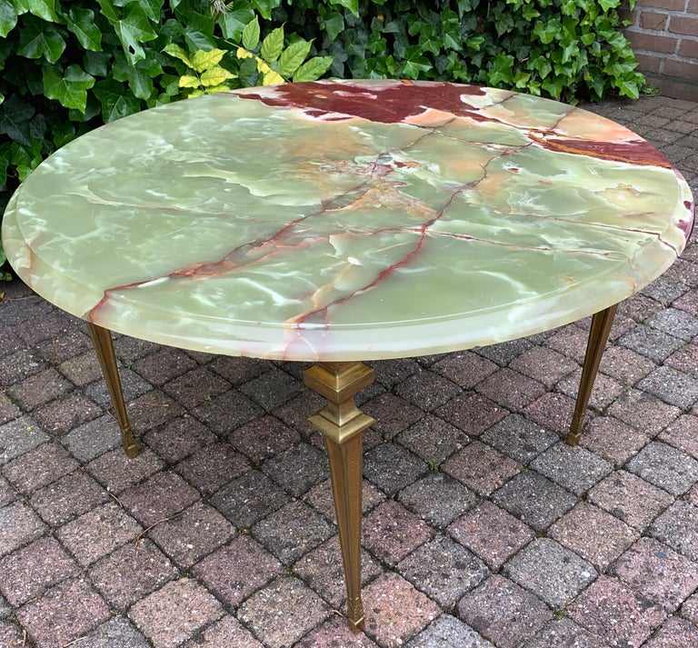 Stylish & Majestic Looking 1950s, Bronze and Green Round Top Onyx Coffee Table 6