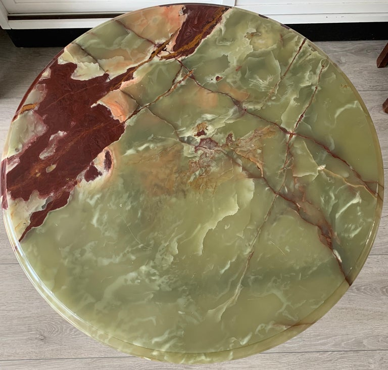Stylish & Majestic Looking 1950s, Bronze and Green Round Top Onyx Coffee Table 9