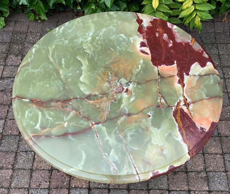 Stylish & Majestic Looking 1950s, Bronze and Green Round Top Onyx Coffee Table 2