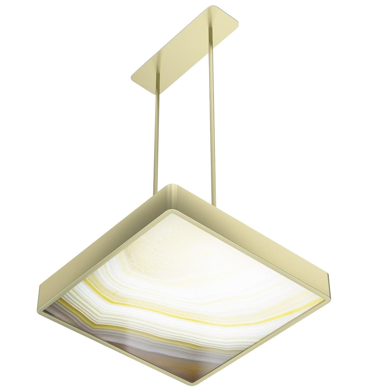 Stylish Metal Ceiling Lamp Champagne Finish Opalescent Vetrite