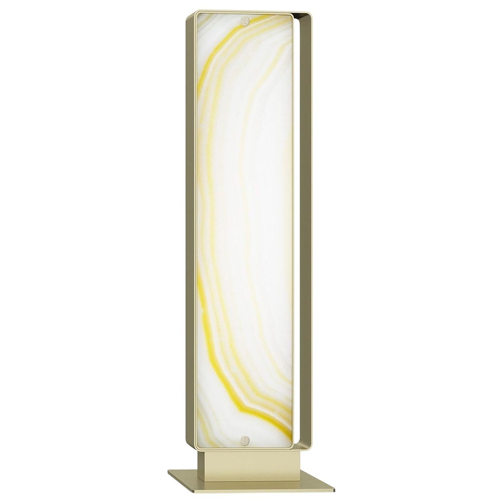 Stylish Metal Floor Lamp Champagne Finish Opalescent Vetrite