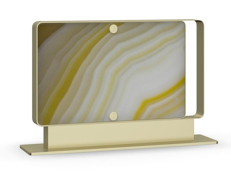 Modern Stylish Metal Table Lamp Champagne Finish Opalescent Vetrite For Sale