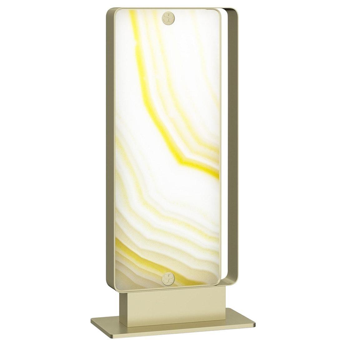 Stylish Metal Table Lamp Champagne Finish Opalescent Vetrite