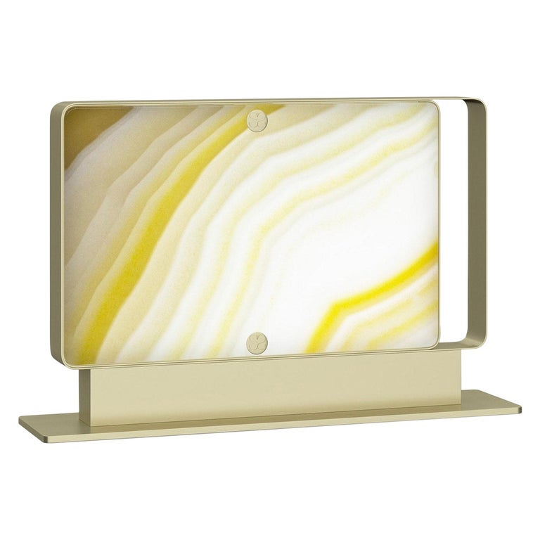 Stylish Metal Table Lamp Champagne Finish Opalescent Vetrite For Sale