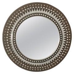 Stylish Mid-Century Modern Danish Art Pottery Round Wall Mirror