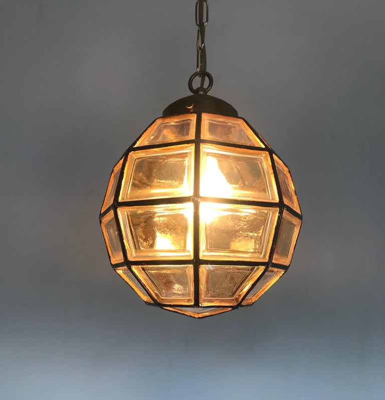 Hand-Painted Stylish Mid-Century Modern Facetted and Lined Glass Pendant or Ceiling Lamp For Sale