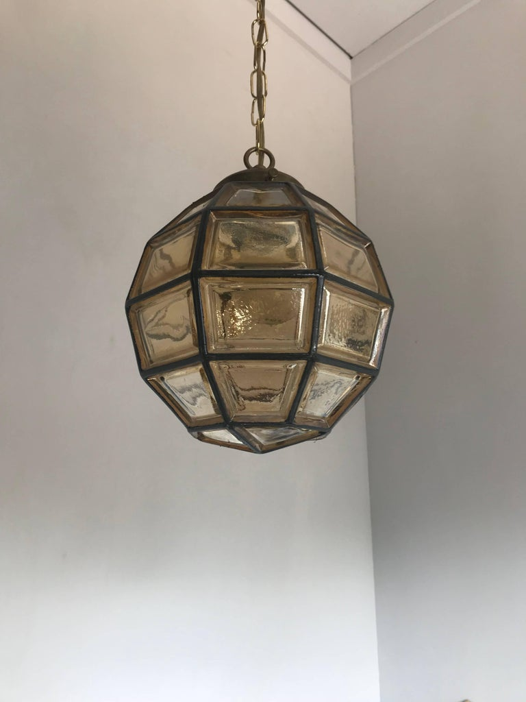 Stylish Mid-Century Modern Facetted and Lined Glass Pendant or Ceiling Lamp For Sale 2