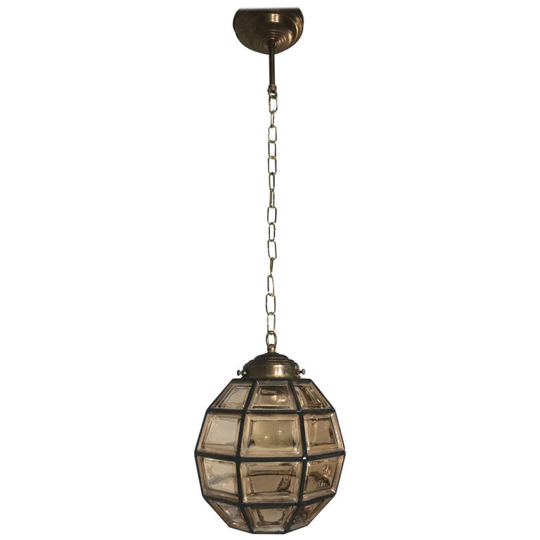 Stylish Mid-Century Modern Facetted and Lined Glass Pendant or Ceiling Lamp For Sale