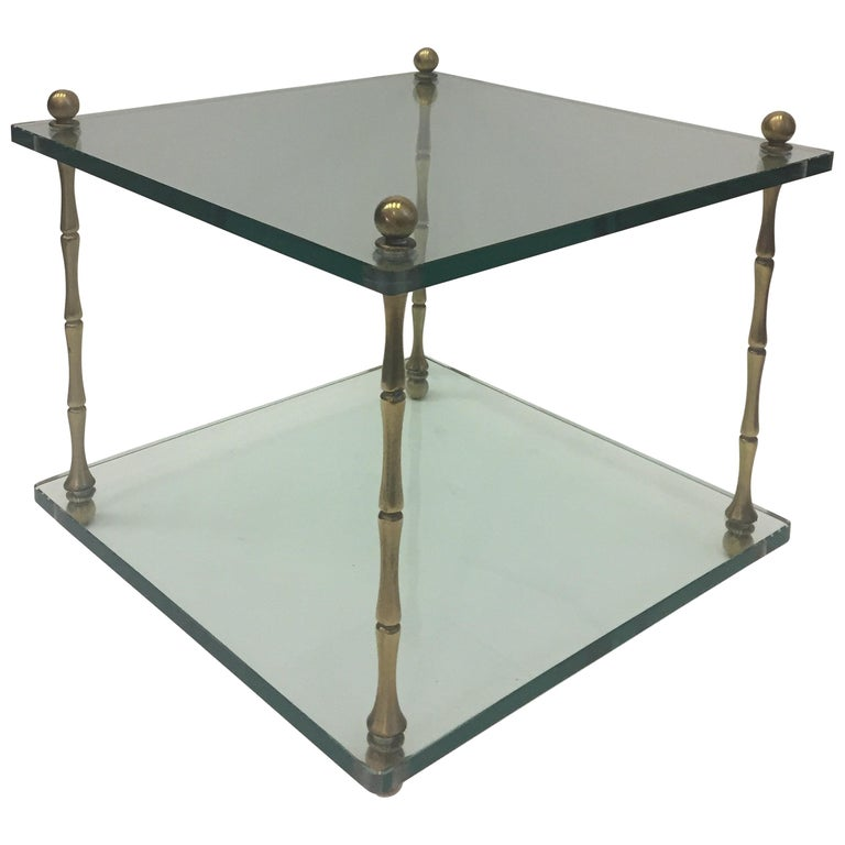 Stylish Mid Century Modern Two Tier Glass And Brass End Table By