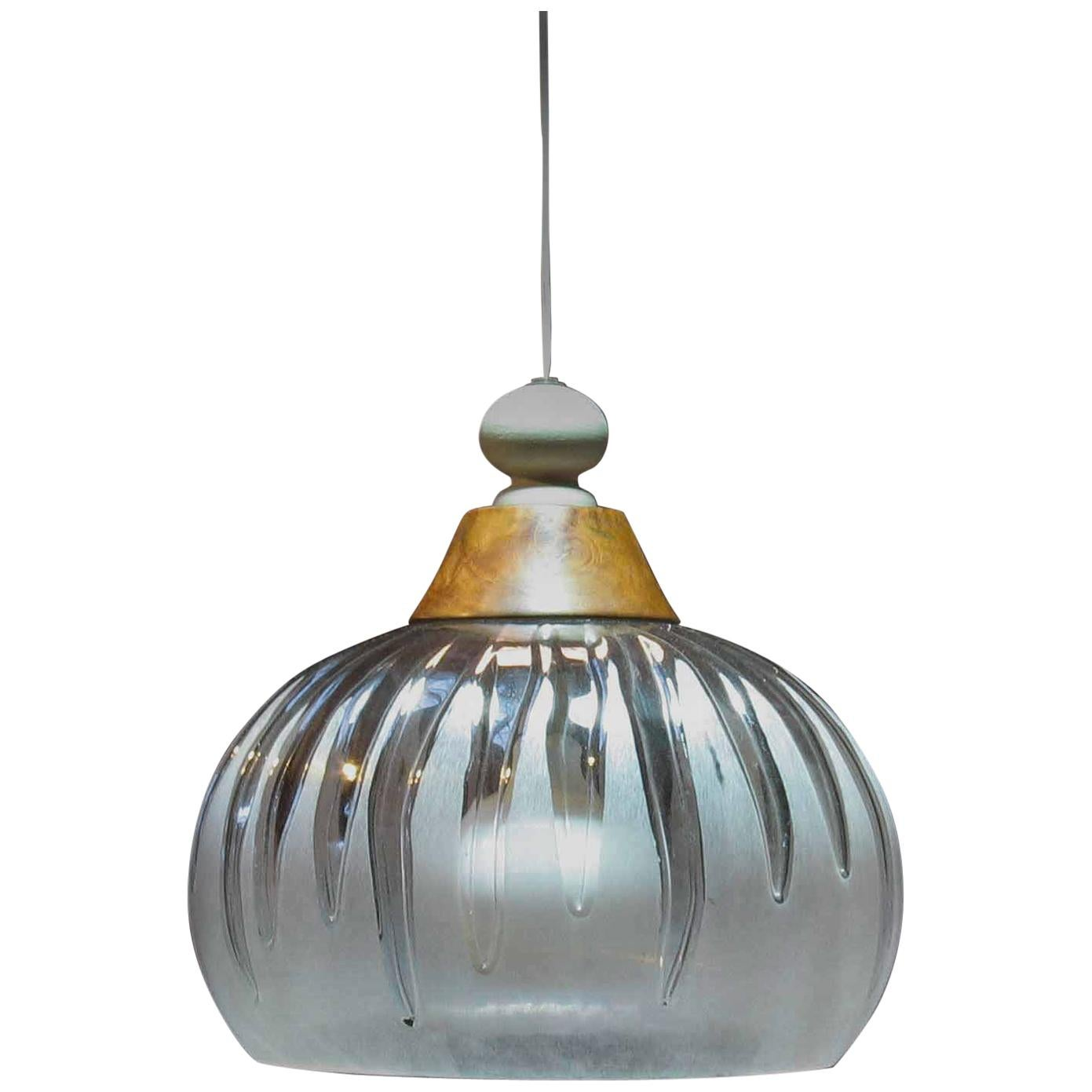 """Stylish Mid Century Pendant Light Fixture """"Melting Ice"""" Frosted and Clear Lucite"""