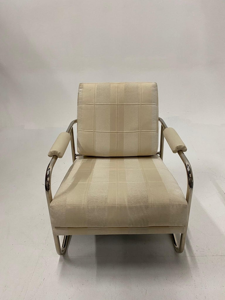 Stylish Mid-Century Modern Chrome and Upholstered Club Chair and Ottoman In Good Condition In Hopewell, NJ