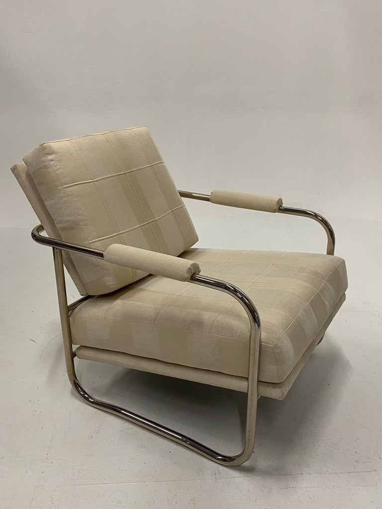 Mid-20th Century Stylish Mid-Century Modern Chrome and Upholstered Club Chair and Ottoman