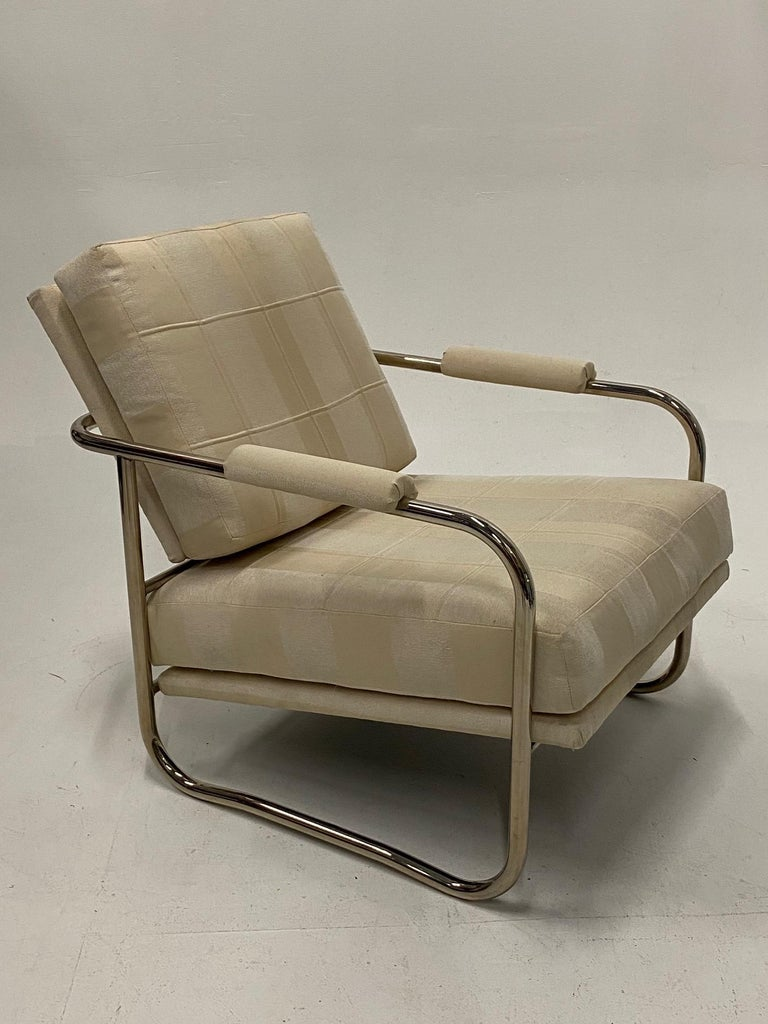 Upholstery Stylish Mid-Century Modern Chrome and Upholstered Club Chair and Ottoman