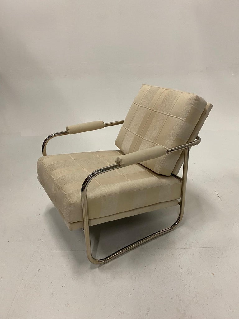 Stylish Mid-Century Modern Chrome and Upholstered Club Chair and Ottoman 1