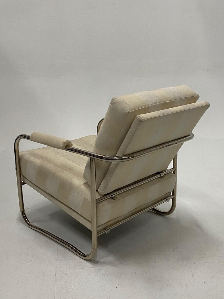 Stylish Mid-Century Modern Chrome and Upholstered Club Chair and Ottoman 2